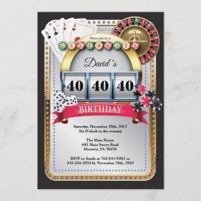 Casino Poker Playing  Birthday Invitation