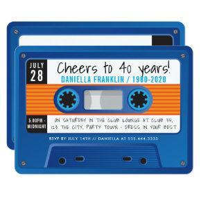 CASSETTE TAPE modern disco birthday blue orange Invitation