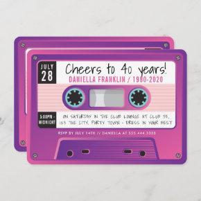 CASSETTE TAPE modern vintage disco birthday purple Invitation
