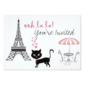 Cat Paris Birthday Invitations