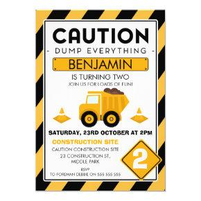 Caution Under Construction Birthday Invitation