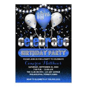 Celebrate Balloons Confetti 18th Birthday Party Invitation
