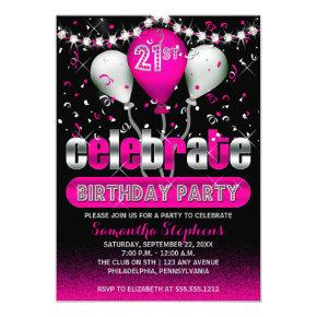 Celebrate Balloons Confetti 21st Birthday Party Card