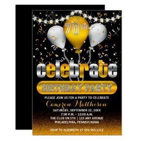 Celebrate Balloons Confetti 70th Birthday Party Invitation