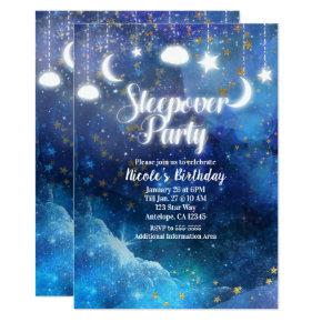 Celestial Fantasy Gold Stars Glow Sleepover Party Invitations