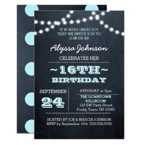 Chalk Lights Aqua 16th Birthday Invitation