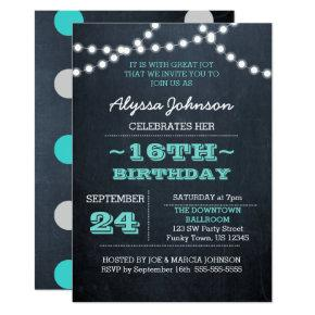 Chalk Lights Teal 16th Birthday Invitation