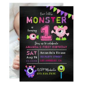 Chalkboard 1st Birthday Little Monster Girl Party Invitation