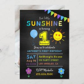 Chalkboard 1st Birthday Little Sunshine Boy Party Invitation