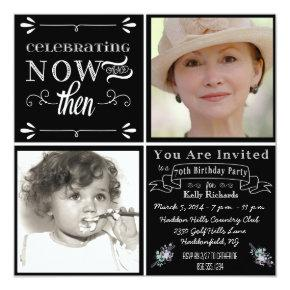 Chalkboard 70th Birthday Square Photo Invitation