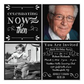 Chalkboard 80th Birthday Square Photo Invitations