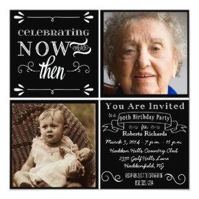 Chalkboard 90th Birthday Square Photo Invitation