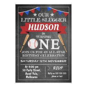 Chalkboard Baseball 1st Birthday Invitations