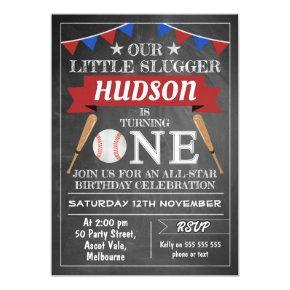 Chalkboard Baseball 1st Birthday Invitation