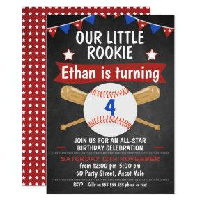 Chalkboard Baseball Birthday Invitations