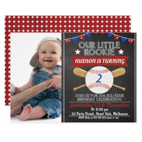 Chalkboard Baseball Photo Birthday Invitations