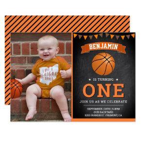 Chalkboard Basketball First Birthday Party Photo Invitation