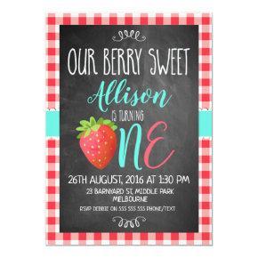 Chalkboard Berry Sweet 1st Birthday Invitation