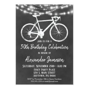 Chalkboard Bicycle Birthday Party Invitations Adult