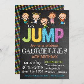 Chalkboard Birthday Trampoline Party Invitation