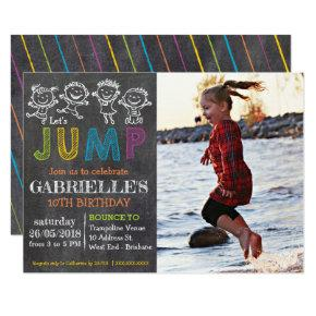Chalkboard Birthday Trampoline Party Invitation