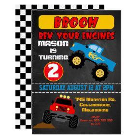 Chalkboard boys monster trucks birthday invitation