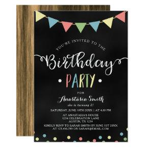 Chalkboard Colorful Bunting Flags Kids Birthday Invitation