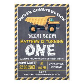 Chalkboard Construction 1st Birthday Invitations