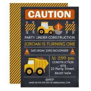 Chalkboard Construction Birthday Invitation