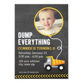 Chalkboard Construction Party Invitations