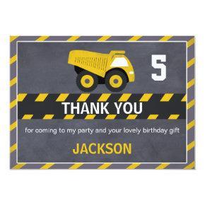 Chalkboard Construction Truck Thank You Card