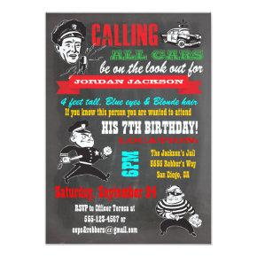 Chalkboard Cops and Robbers  Party Invitation