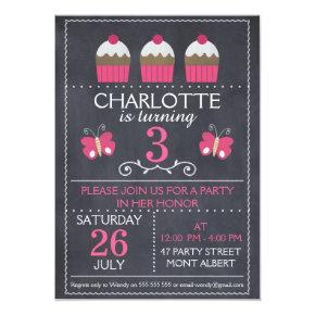 Chalkboard Cupcakes Birthday Party Invitations