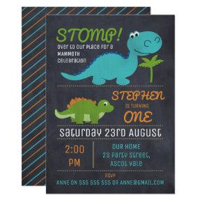Chalkboard Cute Dinosaurs Birthday Invitations