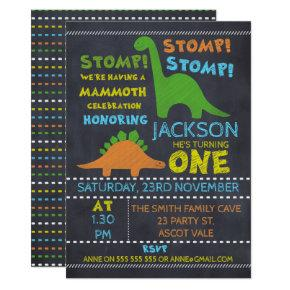 Chalkboard Dinosaur 1st Birthday Invitation