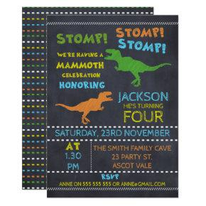 Chalkboard Dinosaur Birthday Invitations