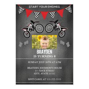 Dirt bike birthday invitations candied clouds chalkboard dirt bike photo birthday invitation filmwisefo