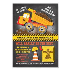 Chalkboard Dump Truck Construction Birthday Party Invitation
