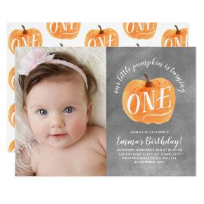 Chalkboard Fall Pumpkin Autumn First Birthday Invitations