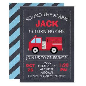 Chalkboard Fire Engine Birthday Invitations