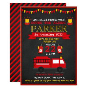 Chalkboard Fire Fighter Birthday Party Invitations