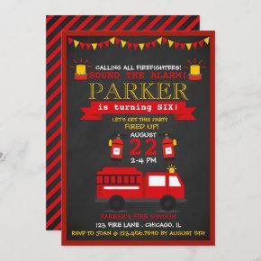 Chalkboard Fire Fighter Birthday Party Invitation