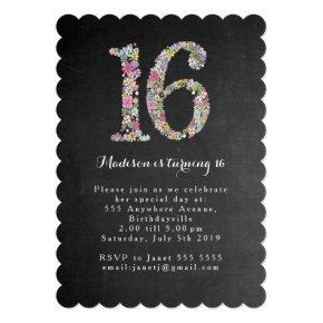 Chalkboard Floral Sweet 16 Birthday Party Invite