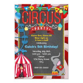 Chalkboard Fun Carnival Birthday Party Invitation