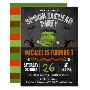 Chalkboard Halloween Frankenstein Birthday Invitation