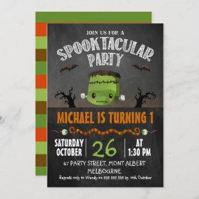 Chalkboard Halloween Frankenstein Birthday Invitation