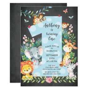 Chalkboard Jungle Big One Boys Birthday Invitation