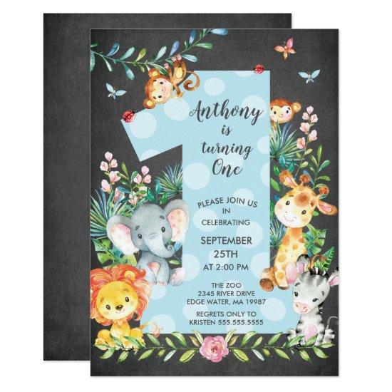 Chalkboard Jungle Big One Boys Birthday Invitations