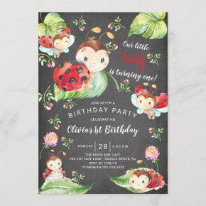 Chalkboard Little Lady Ladybug 1st Birthday Invitation