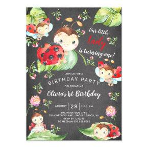 Chalkboard Little Lady Ladybug 1st Birthday Invitation